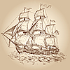 Vector clipart: Vintage sailboat
