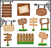 Vector clipart: Set of wooden sigboards