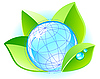Vector clipart: Ecology concept with globe and leaves
