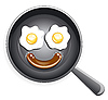 Smile! Fried eggs and sausage on frying pan | Stock Vector Graphics