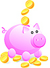 Vector clipart: Piggy bank and money