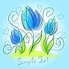 Векторный клипарт: Симпатичные синие цветы