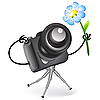 Cute camera with blue flower