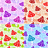 Vector clipart: Set of seamless patterns with mushrooms