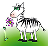 Vector clipart: Zebra and flower