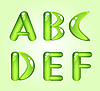 Vector clipart: Green shiny alphabet letters ABCDEF