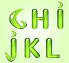 Green shiny alphabet letters GHIJKL | Stock Vector Graphics