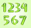 Vector clipart: Green shiny digits