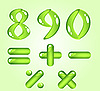 Vector clipart: Green shiny digits