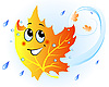 Vector clipart: Cute falling maple leaf