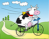 Vector clipart: Cow on bicycle