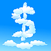 Vector clipart: Cloudy dollar symbol