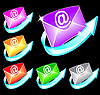 Set of colorful email icons
