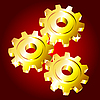 Golden gears on red