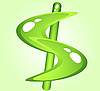 Vector clipart: Green shiny dollar symbol
