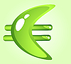 Vector clipart: Green shiny euro symbol