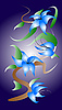 Vector clipart: Chinese blue flowers