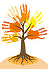 Vector clipart: autumn tree with hands-branches