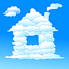 Vector clipart: Cloudy house