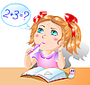 Vector clipart: Little pretty girl studies mathematics