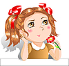 Vector clipart: Little girl with red flower