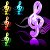 Vector clipart: treble clef in 5 colors