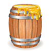 Wooden barrel with honey