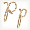 Vector clipart: Rope initial P
