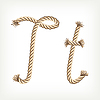 Vector clipart: Rope initial T