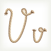 Vector clipart: Rope initial V
