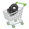 Vector clipart: Shopping cart with photo camera