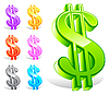 Vector clipart: Set of colorful dollar symbols