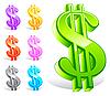Векторный клипарт: Набор красочных символов доллара