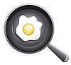Vector clipart: Fried egg on frying pan
