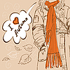 Vector clipart: Girl with long orange scarf