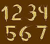 Wheat alphabet. Digits