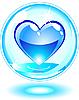 Векторный клипарт: Голубая вода капля в виде сердца в пузыре