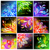 Vector clipart: Set of 9 floral backgrounds