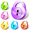 Set of colorful padlock icons | Stock Vector Graphics