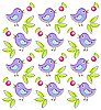 Vector clipart: Pattern with cute birds