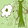 Vector clipart: Girl with long scarf
