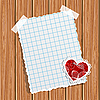 Vector clipart: paper and small valentine on wooden wall