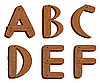 Vector clipart: Wooden initial letters ABCDEF
