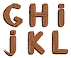 Vector clipart: Wooden initial letters GHIJKL