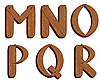 Vector clipart: Wooden initial letters MNOPQR