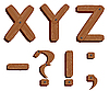 Vector clipart: Wooden initial letters XYZ