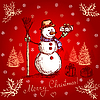 Vector clipart: red christmas card with snowman