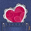Cute heart in jeans pocket