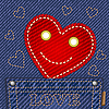 Cute smiling heart in jeans pocket
