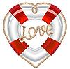Векторный клипарт: спасательный круг с сердцем из веревки